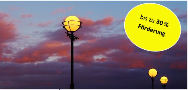 30 % - Förderung für hocheffiziente Außen- und Straßenbeleuchtung