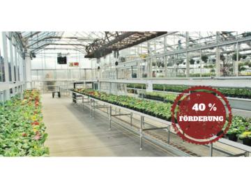 Niedrig-Energiegebäude, die ausschließlich der Erzeugung pflanzlicher Primärerzeugnisse dienen werden vom Staat mit bis zu 40% gefördert.
